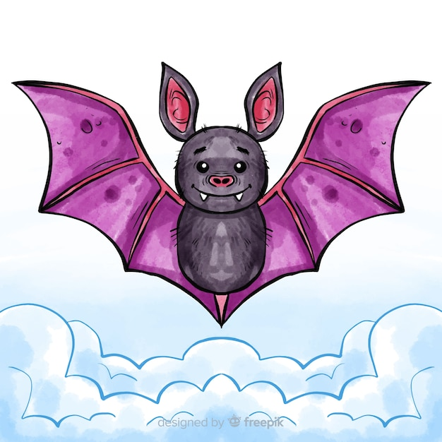Lovely watercolor halloween bat Free Vector