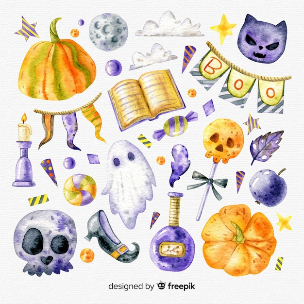 Lovely watercolor halloween element collection Premium Vector
