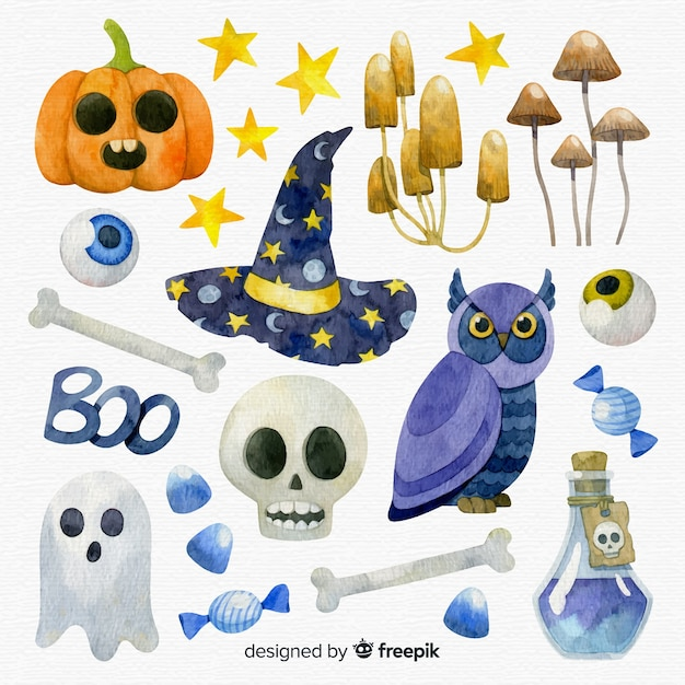 Lovely watercolor halloween element collection Free Vector
