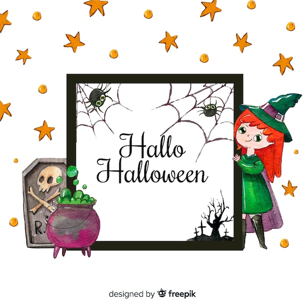 Lovely Watercolor Halloween Frame Vector Free Download