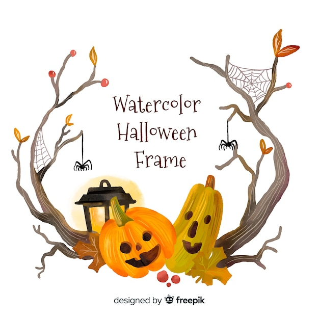 Lovely watercolor halloween frame Free Vector