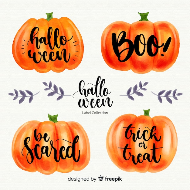 Lovely watercolor halloween label collection Free Vector
