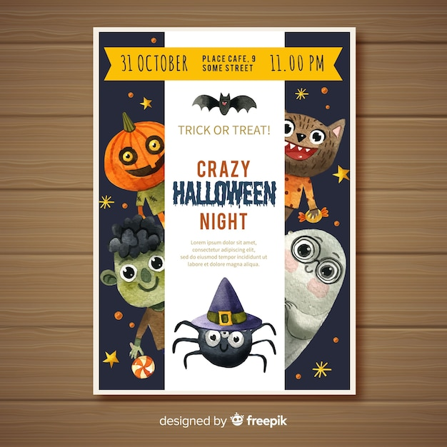 Lovely watercolor halloween party poster Free Vector