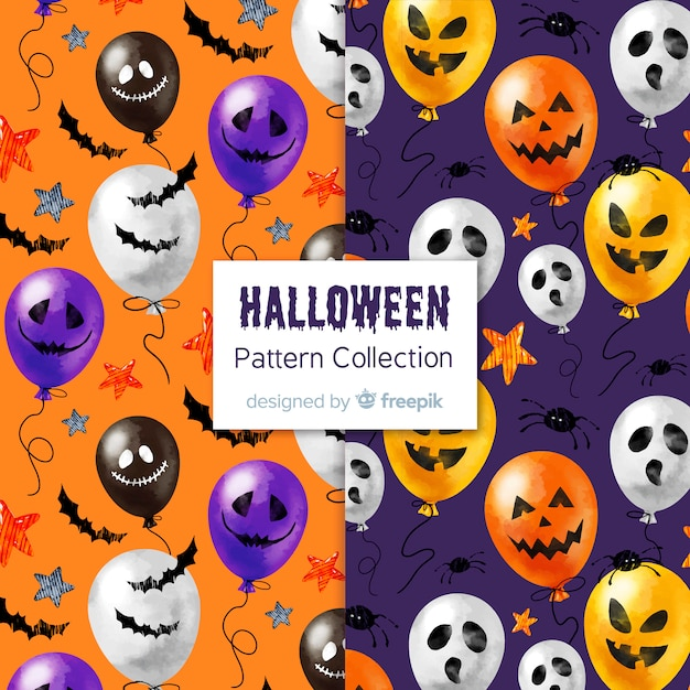 Lovely watercolor halloween pattern collection Free Vector