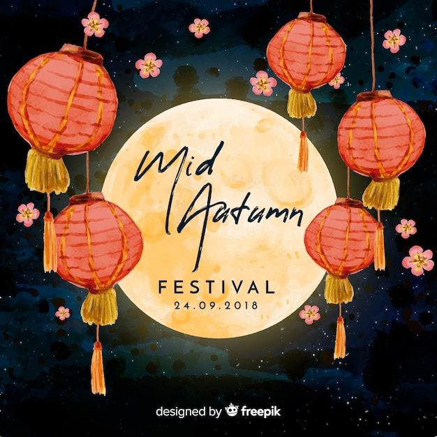 Lovely watercolor mid autumn festival background Vector