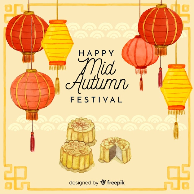 Lovely watercolor mid autumn festival background Free Vector