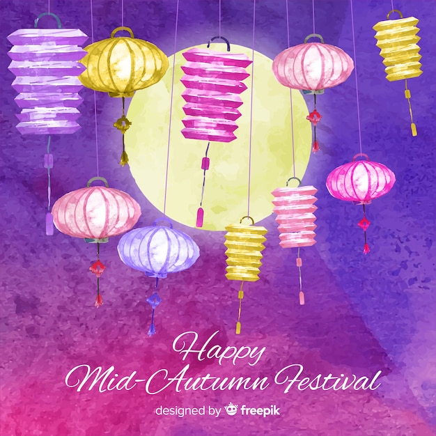 Lovely watercolor mid autumn festival composition Free Vector