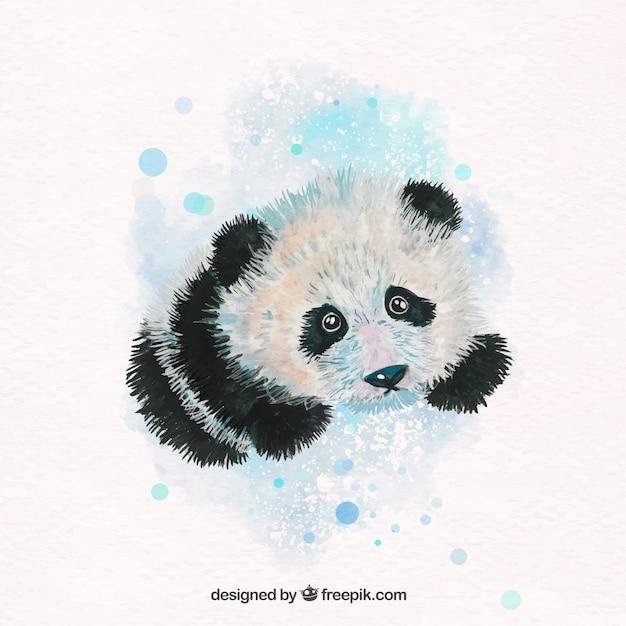 Lovely watercolor panda Free Vector