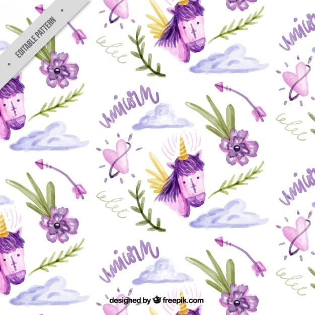 Lovely watercolor pattern of unicorn Free Vector