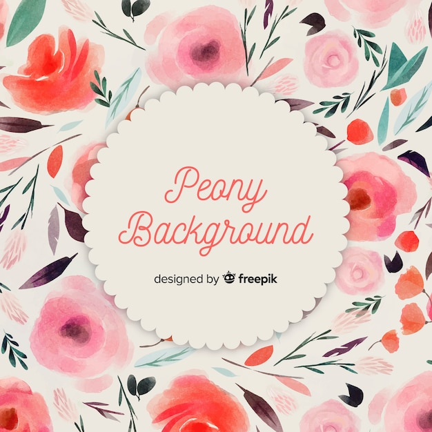 Lovely watercolor peony flower background Free Vector