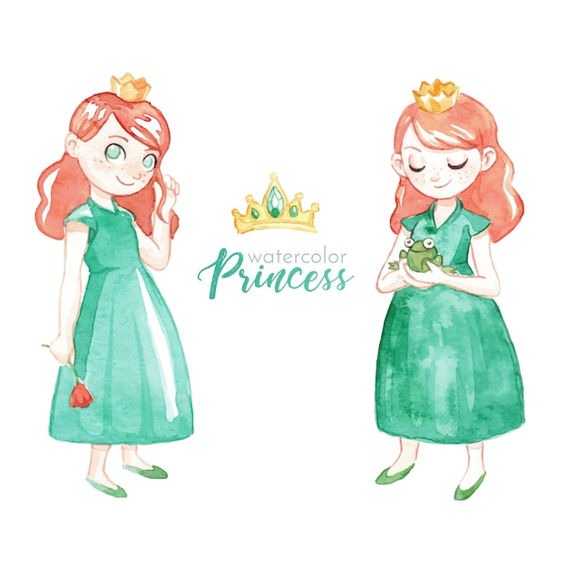 Lovely watercolor princess character Free Vector