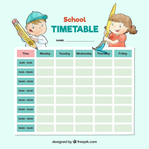 Lovely watercolor school timetable template Free Vector