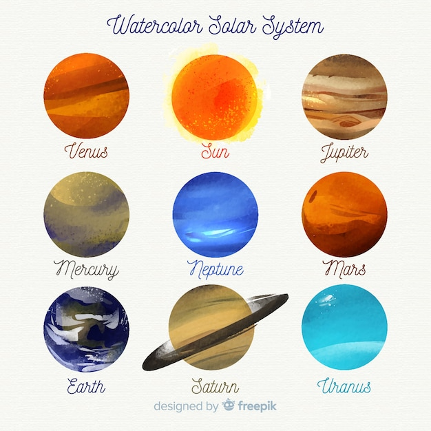 Lovely watercolor solar system Free Vector