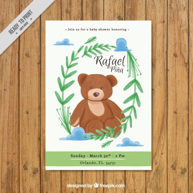 Lovely watercolor teddy baby shower invitation vector free download lovely watercolor teddy baby shower invitation free vector stopboris Gallery