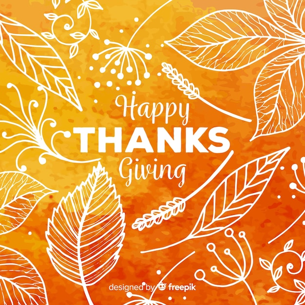 Lovely watercolor thanksgiving background Free Vector
