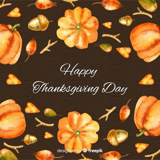 Lovely watercolor thanksgiving day background Free Vector