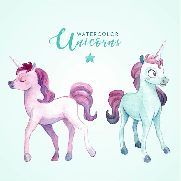 Lovely watercolor unicorns Free Vector