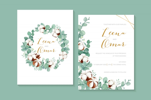 Lovely watercolor wedding invitation with cotton flowers and eucalyptus leaves Premium Vector