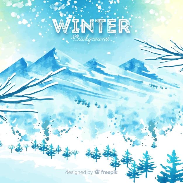 Прекрасный акварельный зимний фон Бесплатные векторы