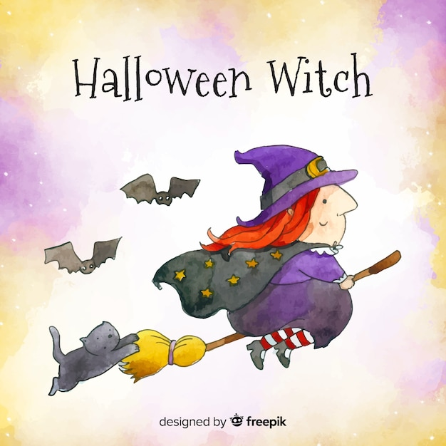 Lovely watercolor witch character Free Vector