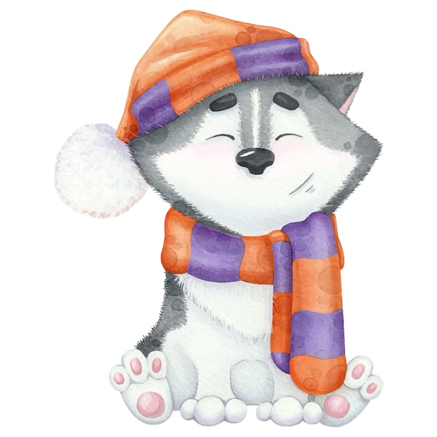 Lovely watercolour husky in scarf and hat. Premium Vector