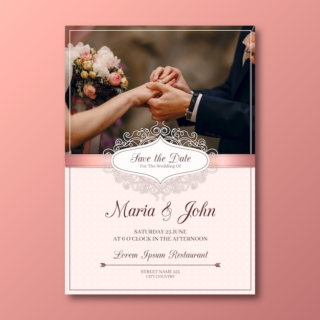 Lovely wedding card template with picture Free Vector