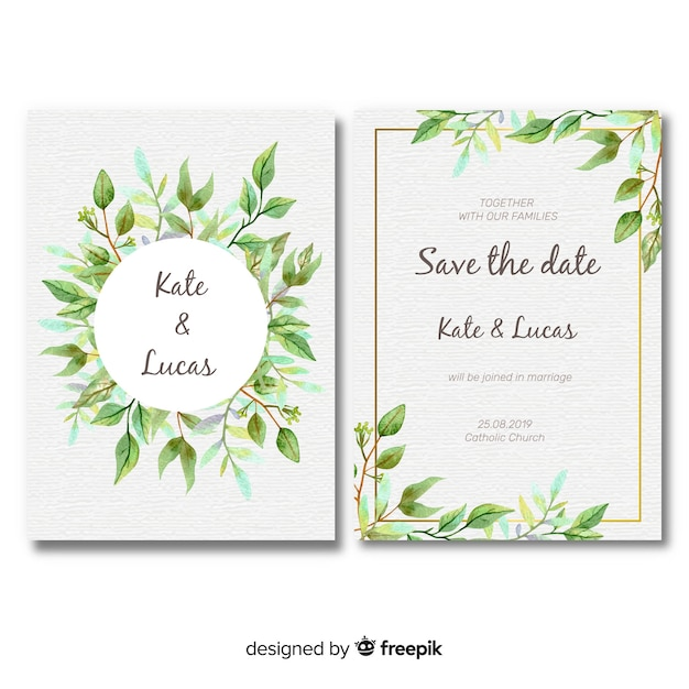 lovely wedding card template with watercolor leaves vector free