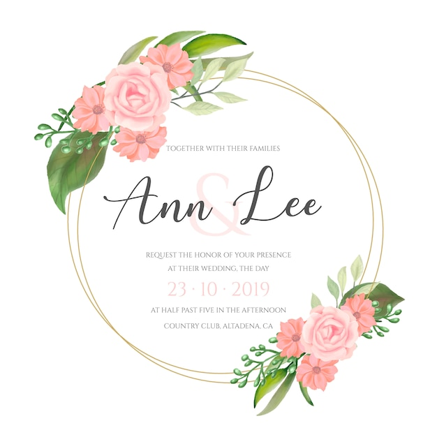 Lovely wedding card with watercolor flowers Free Vector