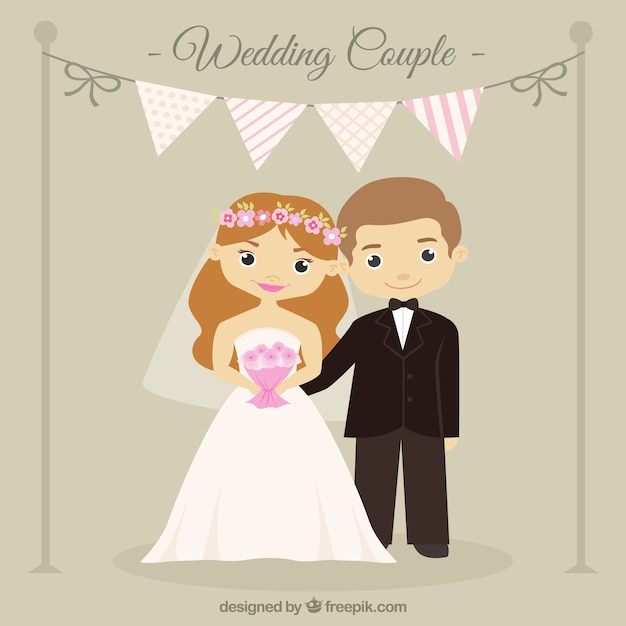 Lovely Wedding Couple With A Garland Free Vector