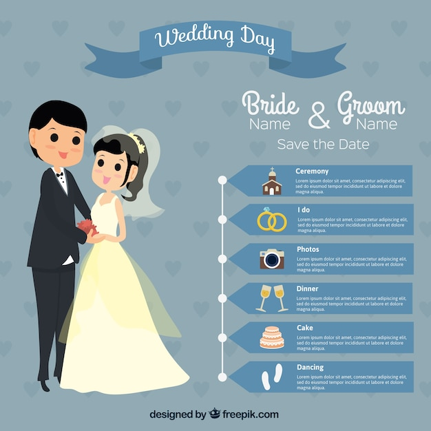 Lovely Wedding Day Infography Premium Vector