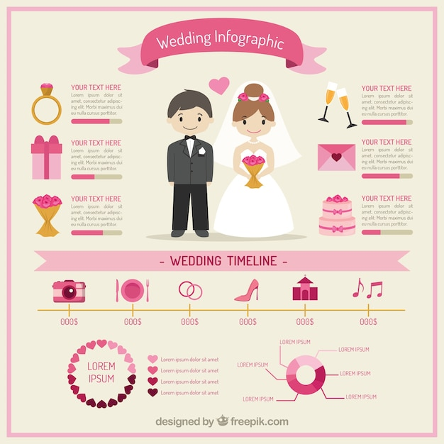 Lovely Wedding Infographic Vector