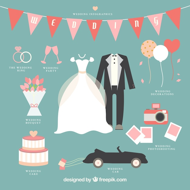 Lovely wedding infographic Free Vector