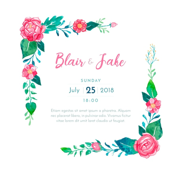 lovely wedding invitation card  free vector