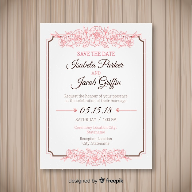 Lovely wedding invitation template with peony flowers Free Vector