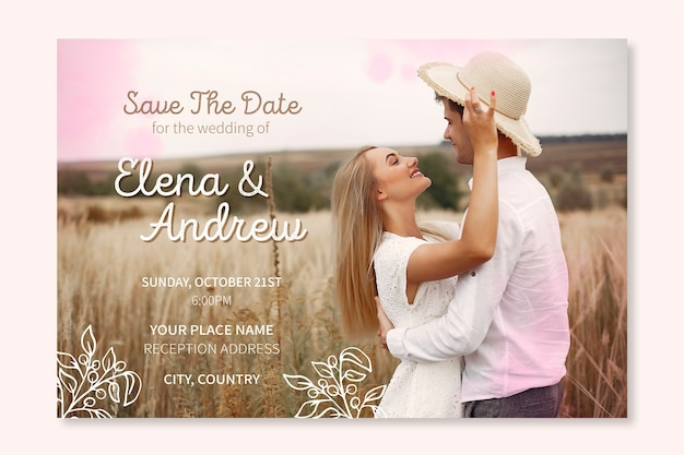 Lovely wedding invitation template with photo Free Vector