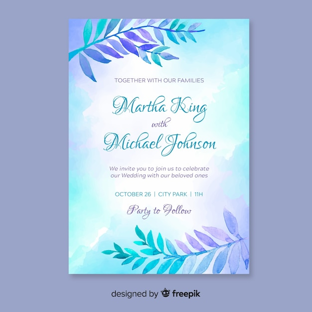 Lovely wedding invitation template with watercolor leaves vector lovely wedding invitation template with watercolor leaves free vector stopboris Gallery