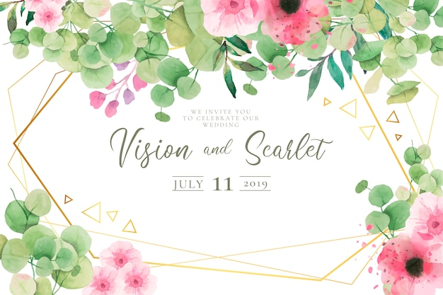 Lovely wedding invitation template Free Vector