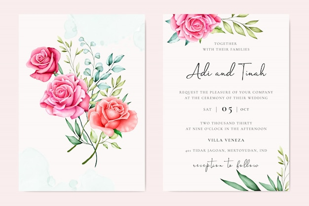 Lovely wedding invitation template Premium Vector