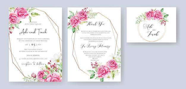Lovely wedding invitation template Premium Vector