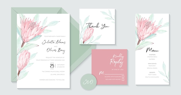 Lovely wedding invitation with beautiful watercolor protea Premium Vector