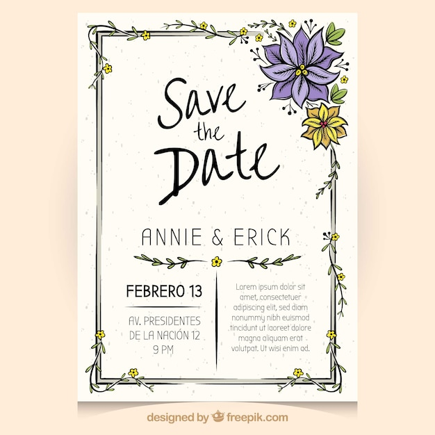 Lovely wedding invitation with hand drawn flowers Vector