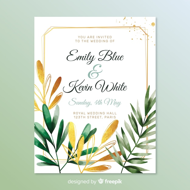 Lovely wedding invitation with leaves Free Vector