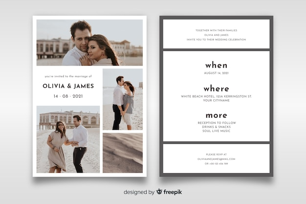 Lovely wedding invitation with photo template Free Vector