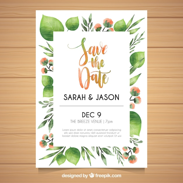Lovely wedding invitation with watercolor leaves vector free download lovely wedding invitation with watercolor leaves free vector stopboris Images