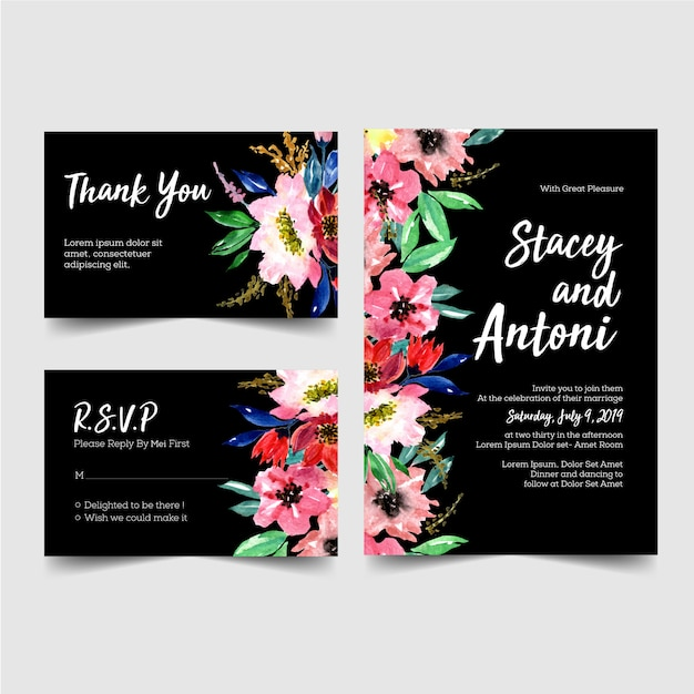 Lovely wedding invitations set Premium Vector