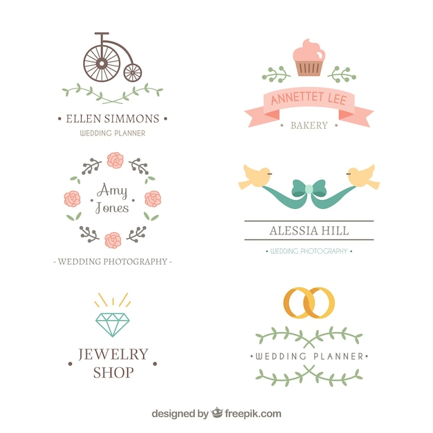 Lovely wedding logos Vector Premium Download