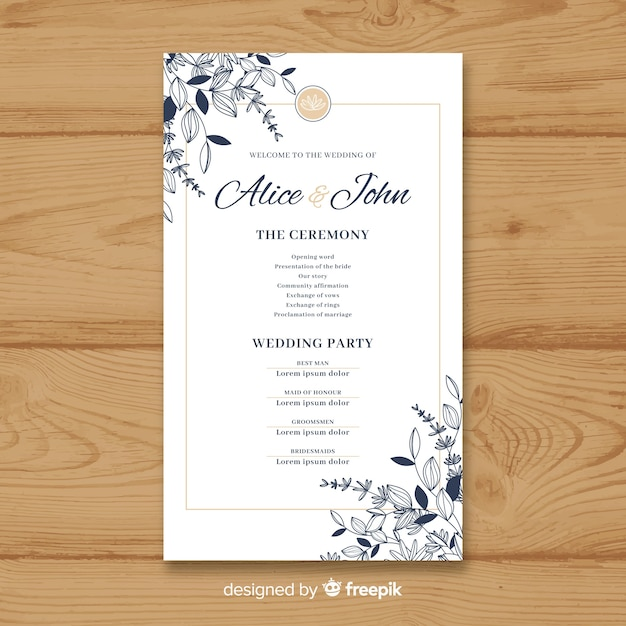 lovely wedding program with elegant style vector free download