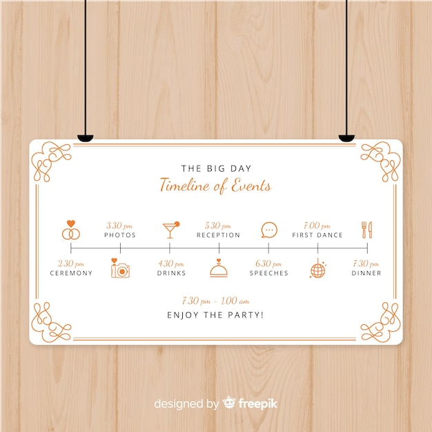 lovely wedding program with flat design vector free download