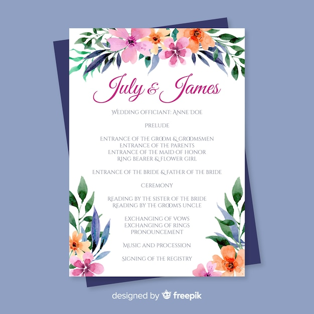 lovely wedding program with watercolor flowers vector free download