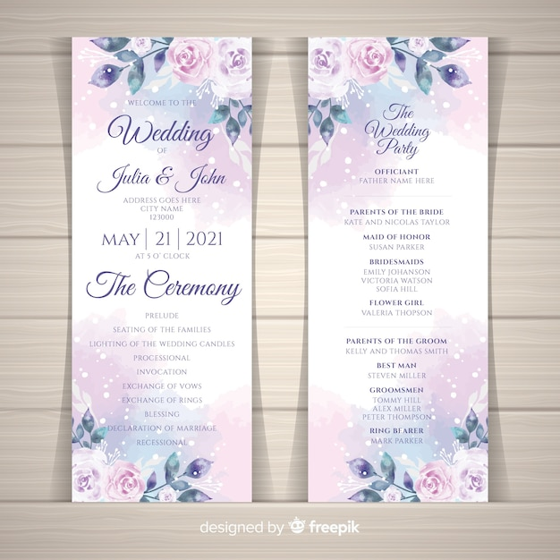 Lovely wedding program with watercolor flowers Free Vector